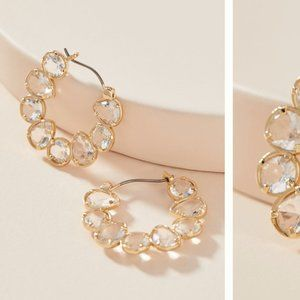 Anthropologie Margot Glass Stone Hoop Earrings